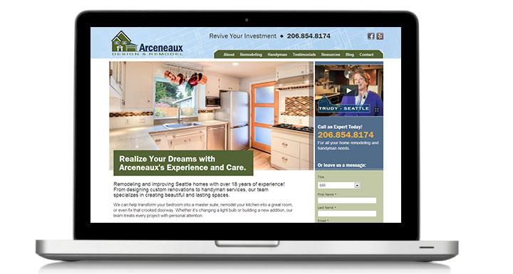 Home Remodeling Website Design   Arceneaux Design And Remodel Web Design