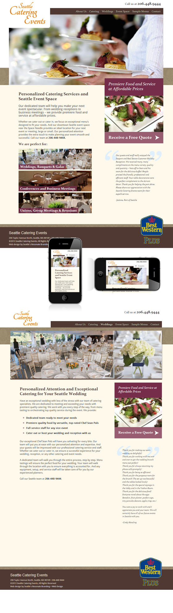 Seattle Catering Events Web Design And Mobile Site